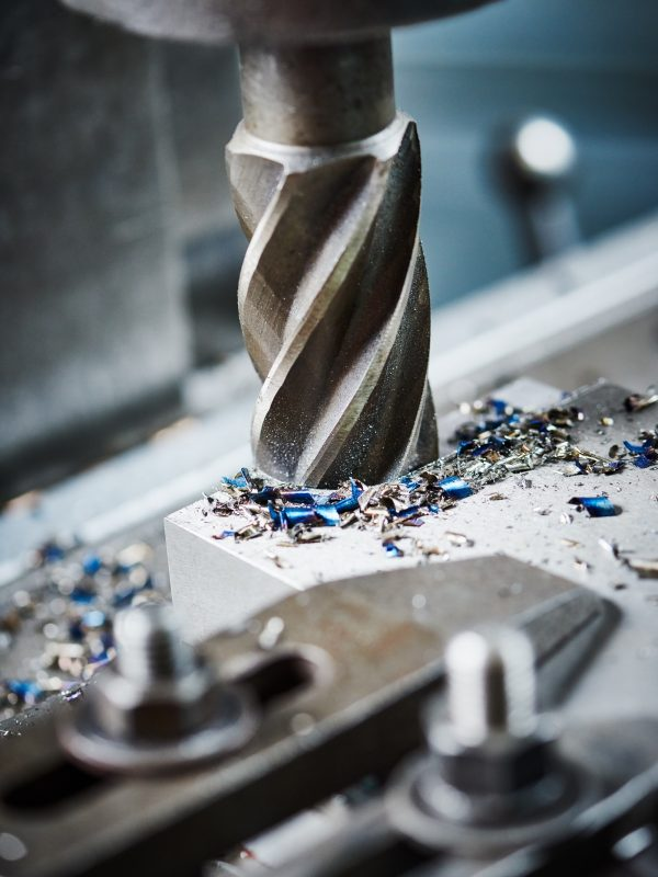 industrial metalworking machining cutting process of blank detail by milling cutter at factory