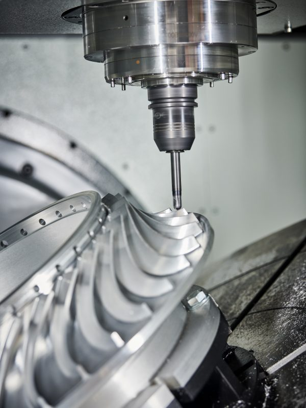 metal cutting industry. metal milling work. processing impeller with 5 axis cnc machine